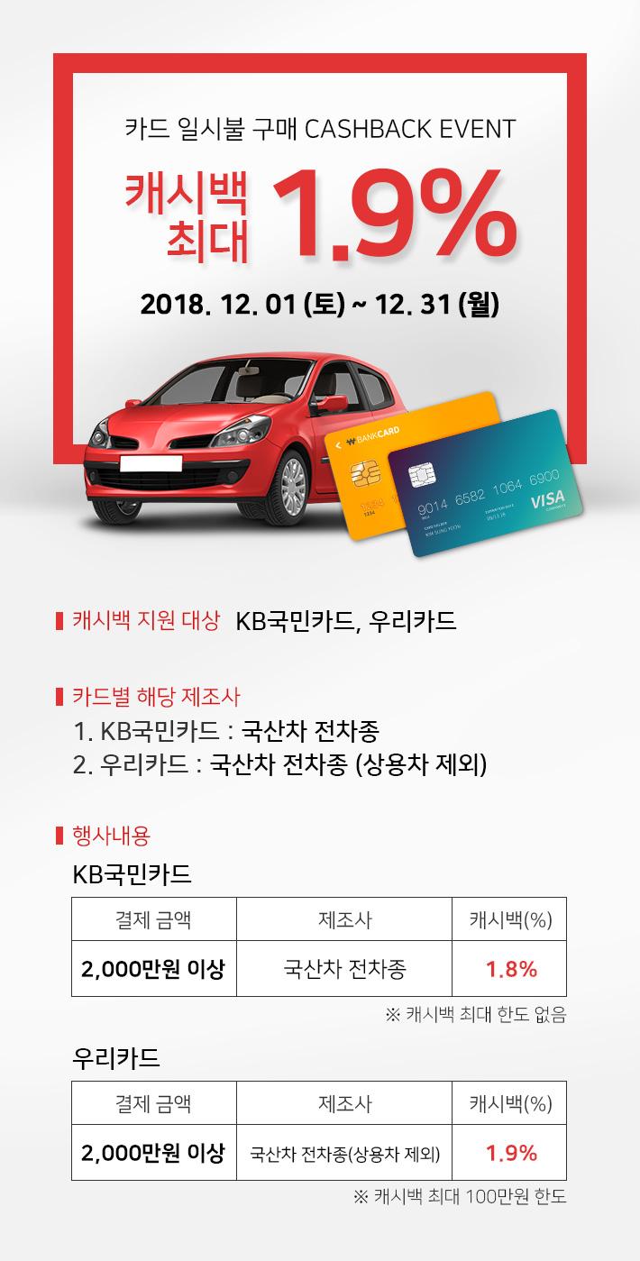 카드 일시불 구매 CASHBACK EVENT 캐시백 최대 2.0% 2018.12.01(토) ~ 12.31(월)