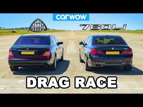 [carwow] BMW 760Li vs Maybach: DRAG RACE *V12 Luxury*