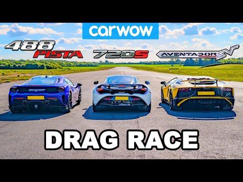 [carwow] Ferrari 488 Pista vs McLaren 720S vs Lamborghini Aventador SV: DRAG RACE!