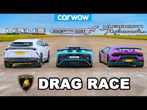 [carwow] Lamborghini Urus v Aventador v Huracan: DRAG RACE!