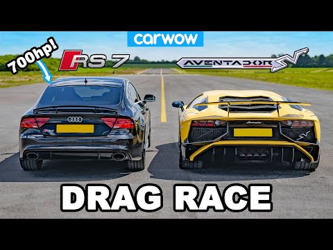 [carwow] Lamborghini Aventador vs 700hp Audi RS7 - DRAG RACE