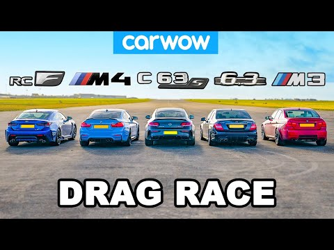 [carwow] BMW M4 v AMG C63 S vs Lexus RC F v old M3 & C63: DRAG RACE