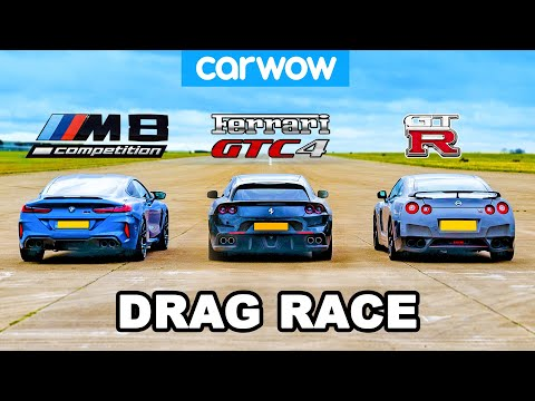 [carwow] BMW M8 vs Nissan GT-R vs Ferrari V12 - DRAG RACE!