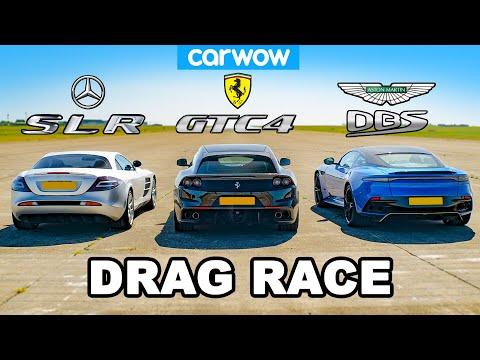 [carwow] Mercedes SLR McLaren vs Ferrari GTC4 vs Aston DBS: DRAG RACE