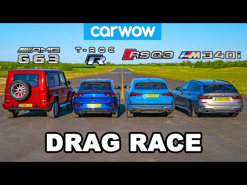 [carwow] BMW M340i vs AMG G63 v Audi RSQ3 vs VW T-Roc R: DRAG RACE