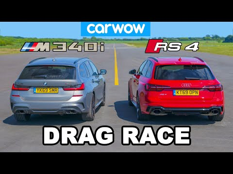 [carwow] BMW M340i v Audi RS4: DRAG RACE