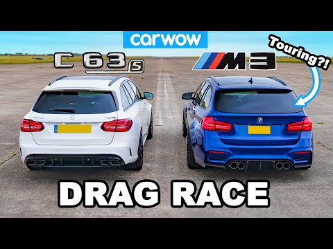 [carwow] BMW M3 Touring(?!) vs AMG C63 S Estate - DRAG RACE