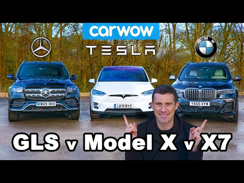 [carwow] BMW X7 vs Tesla Model X vs Mercedes GLS ... DRAG RACE and REVIEW!