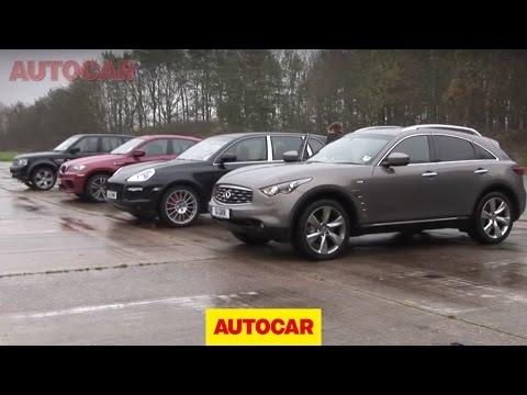 [Autocar] Porsche Cayenne v BMW X6 M v Infiniti FX v Range Rover Sport drag race