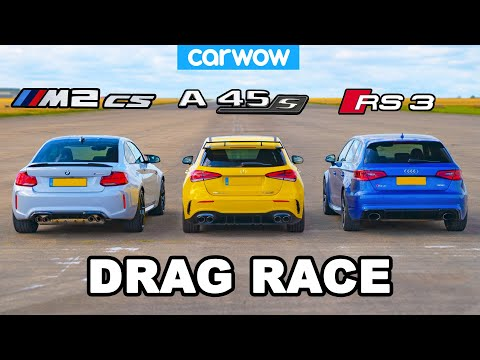 [carwow] New BMW M2 CS vs AMG A45 S vs Audi RS3: DRAG RACE!