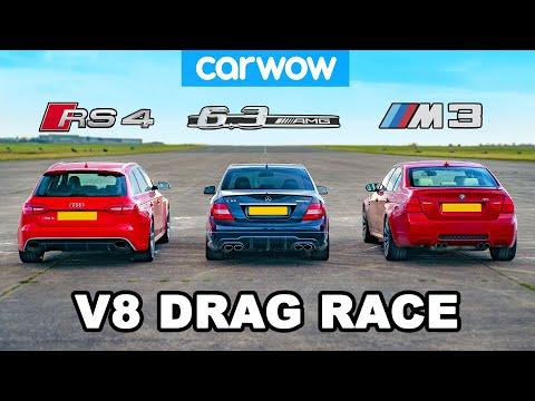 [carwow] BMW M3 v AMG C63 v Audi RS4: V8 DRAG RACE