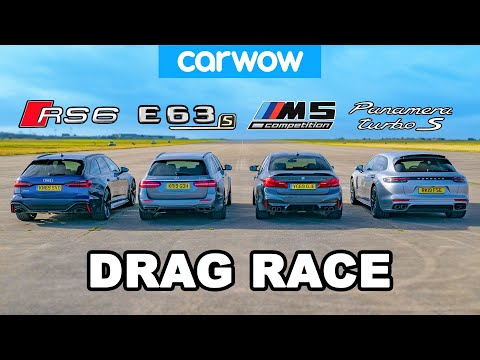 [carwow] Audi RS6 v BMW M5 v AMG E63 v Porsche Panamera - DRAG RACE