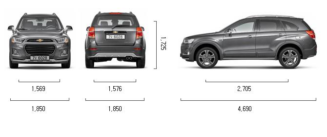 디젤 2.0 2WD (5인승) 제원 치수