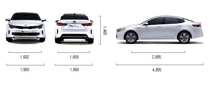 가솔린 2.0 플러그인 하이브리드 제원 치수