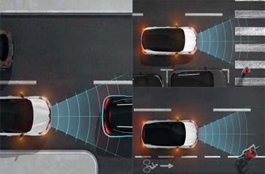긴급제동 보조 시스템(AEBS : 차량/보행자/자전거 탑승자 감지)이미지